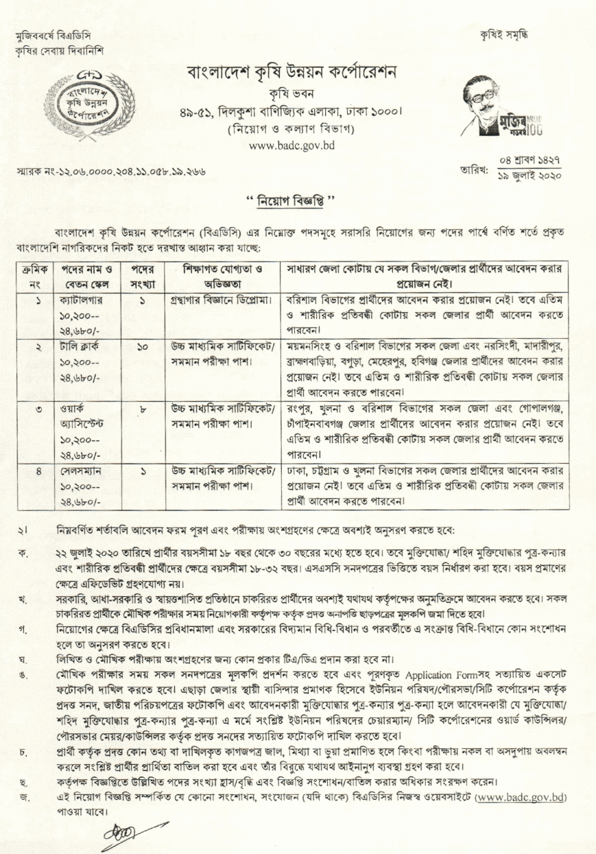 BADC Job Circular- badc.gov.bd
