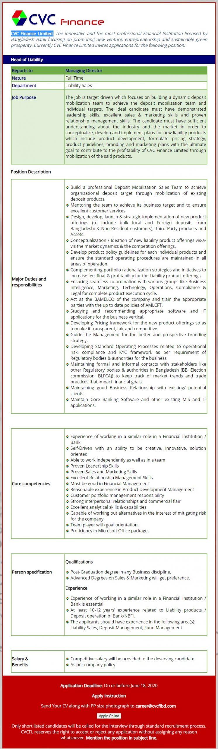CVC Finance Limited Job Circular